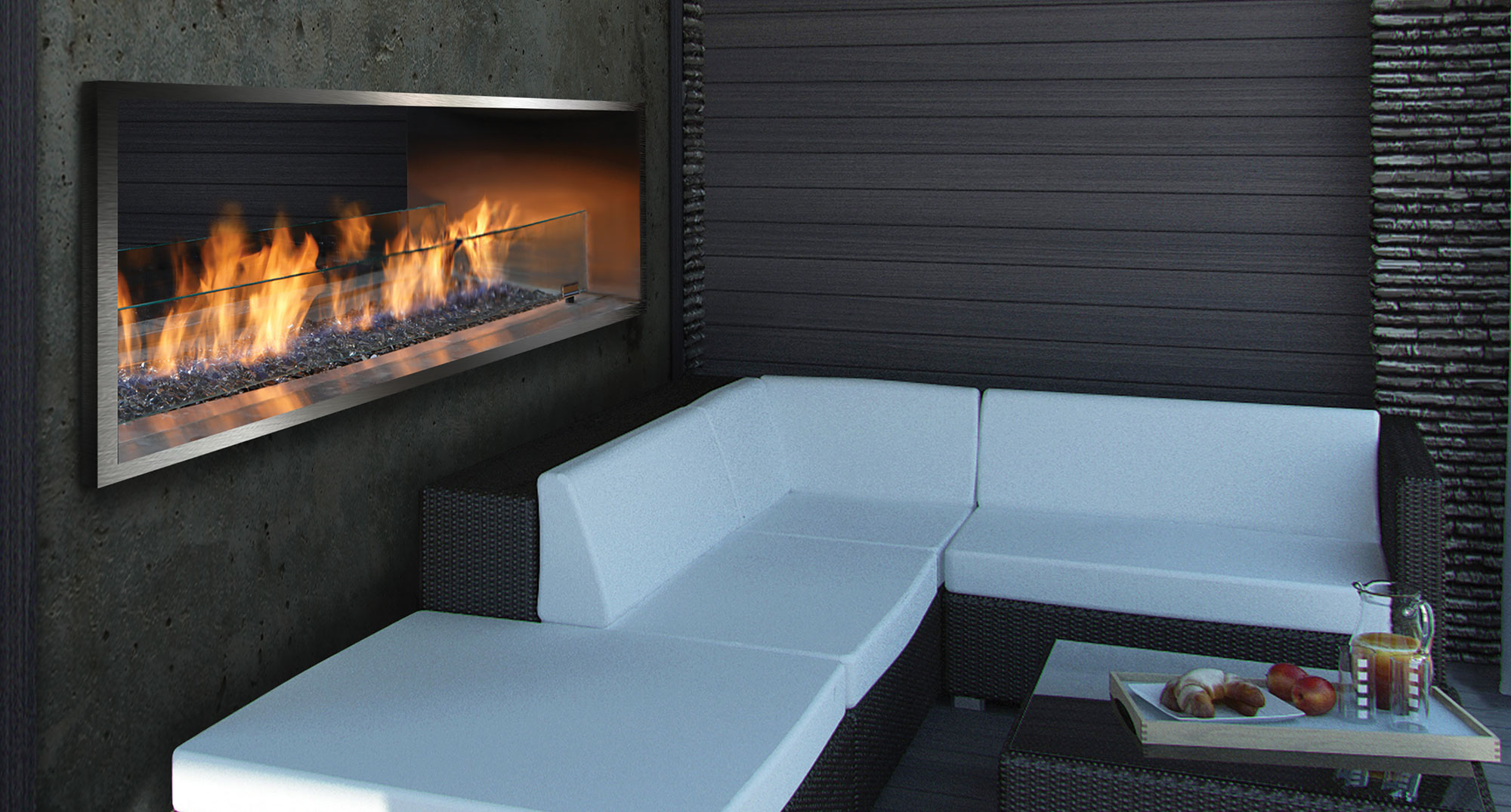 OFP7972S2N: Outdoor Linear Fireplace with MQ65C Glass Media, OFP79SS Stainless Steel Surround